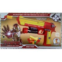 Arma Pressão Homem De Ferro Atira Balas E Dardos Nerf 23 Cm