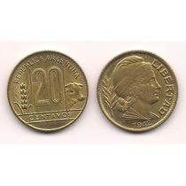 Moneda Bronce 20 Centavos Año 1942 Fecha Grande Excelente+