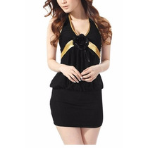 Vestido Moda Japones Negro/dorado
