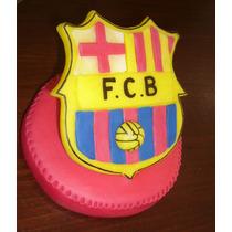 Escudo Futbol Barcelona Adorno De Torta Porcelana Fria