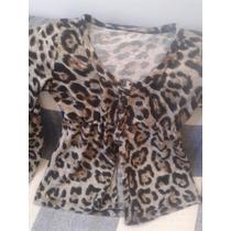 Suéter De Lanilla Con Botones De Animal Print Leopardo