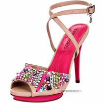 Sandália Carmen Steffens Meia Pata Salto Alto Fino Bege Pink