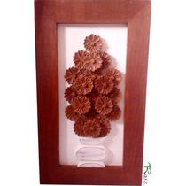 Quadro Rústico Vaso De Flores Madeira Natural Oportunidade