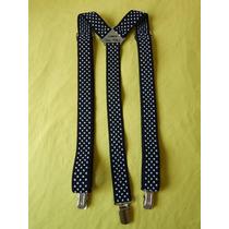 Tirador Pantalón Suspenders Pinza Madison Negro/lun Bla 3cm