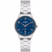 Relógio Feminino Orient Aço Prata Visor Mostrador Azul Data