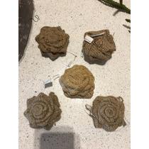 Esfera En Forma De Rosa, Material Yute.