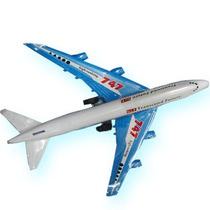 Avion 747 Fricción Con Luces 23cm. Largo En Blister Navidad