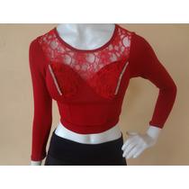 Conjunto Blusa Cropped Top Vermelho Renda Saia Juju Panicat