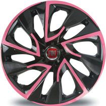 Jogo Calota Aro 14 Ds4 Pink Fiat Palio Uno Idea Punto