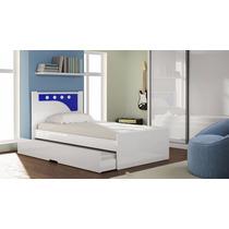Cama Solteiro Bibox Bolinha 090 Branca / Azul - Gelius