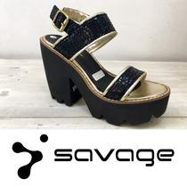 Savage Zapatos Directo De Fabrica. Sandalia. Lon-310 Neg