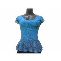 Bella Blusa Dama De Encaje Importada, Tono Azul, Talla M.