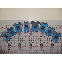 Varal De Roupinha Azul E Chocolate 13 Letras Eva-chá De Bebê