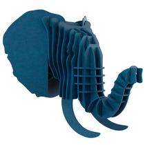 Elefante Azul Cabeza Decorativa Animal Trofeo Valchromat8mm