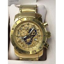 Relógio Iron Man Subaqua Dourado Todo Funciona Skeleton