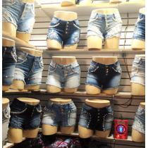 Short Jeans Hot Pant Top Curto Destroyed+lycra Botões Barato