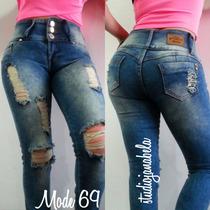 Pantalon Jeans De Dama Bota Tubo Strechs