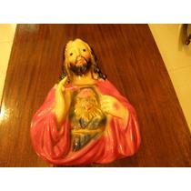 Antigua Figura Sagrado Corazon De Jesus Yeso
