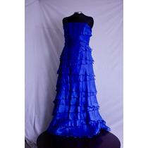 Vestido Azul Rey Strapless De Volantes