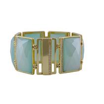 Bracelete Semi - Jóia Banhado Ouro Agata Do Céu E Zircônias