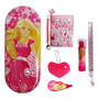 Kit Escolar Barbie Rosa 6pçs Estojo + Acessórios Penal