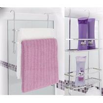 Kit Suportes P/ Box 1 Suporte Toalha + 1 Suporte Shampoo