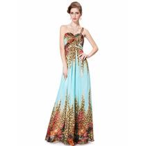 Vestido Festa Longo Azul Oncinha Importado Ever Pretty