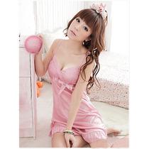 157- Camison En Seda Color Rosa Muy Fino Y Delicado Diseño!