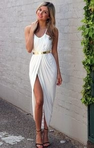 Vestidos largos elegantes de graduacion blancos