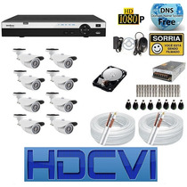 Kit 8 Camera Hdcvi 20mts 30mt Dvr 8 Canais Intelbras 1008 G2