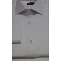 Camisa Social Alto Estilo Masculina Punho Duplo Abotoadura