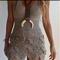 Vestido Tejido A Crochet A Mano Hilo De Algodón Ropa De Dama