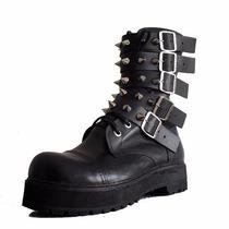 Coturno Couro Vilela Boots - 100% Couro - Fivelas E Spikes