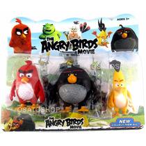 Kit 3 Bonecos Angry Birds Filme Coleção Personagens Promoção