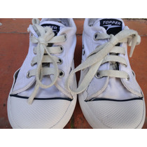 Topper Nº 28 Zapatillas Colegial Clasicas De Lona Blancas