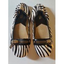 Michael Kors Zapatos Flats Piel Animal Zebra Cierre Dorado
