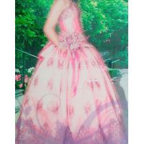 Vestido De Xv Años Color Rosa, Con Acabados Color Uva.