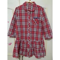 Blusa Camisa Vestido Cuadros Rojo Nueva! Talla L Verano