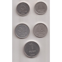 Serie Pesos Argentinos 1 Peso Año 1984, 50, 10 5 Y 1 C 1983