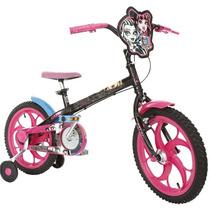 Bicicleta Caloi Monster High, Aro 16, Preta E Rosa Fuccia