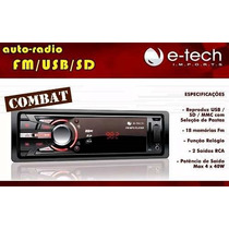 Radio Automotivo Combat Mp3/ Fm/ Usb/ Sd E Auxiliar Promoção
