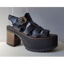 Zapato Plataforma Sandalia Franciscana De Cuero Liquidación