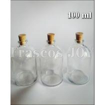 Minifrasco Vidrio 100 Ml Tapa Corcho 12 Piezas