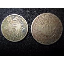 Lote De 2 Monedas De Cuproníquel De 10 Y 5 Ctvs. 1940-1937