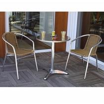 Mesa + 2 Cadeiras, Jardim, Exterior, Varanda, Inox, Fibra