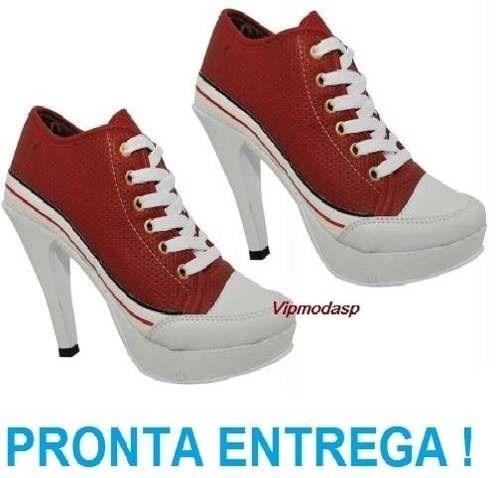 5f095a5b1ed Sneaker Tenis Feminino Salto Alto Preto Plataforma Vermelho - R  169 ...