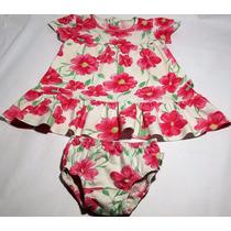 Vestidinho Floral Rosa Puc C/calcinha Porta Fralda 18/24 M