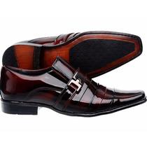 Sapato Social Masculino Em Couro Envernizado Vinho