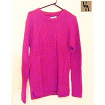 Sweater Pulover Magenta Tejido Artesanal