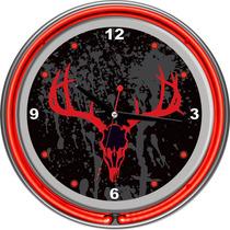 Caza Doble Anillo Calavera Cromado Reloj Neón, 35,56 Cm